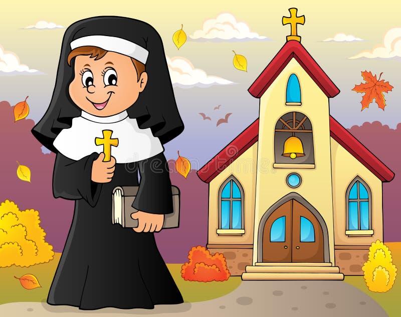 Imagem feliz 3 do assunto da freira ilustração do vetor