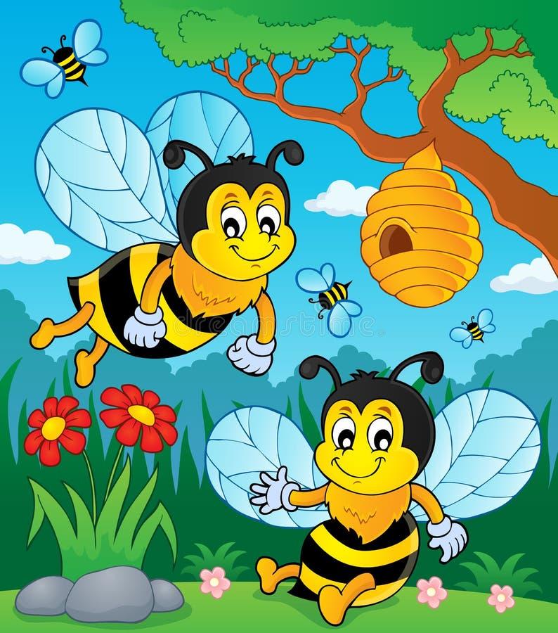 Imagem feliz 1 do tema das abelhas da mola ilustração stock