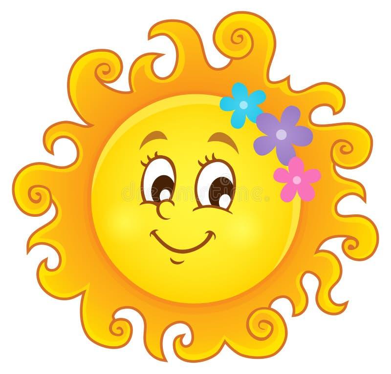 Imagem feliz 3 do tema do sol da mola ilustração stock