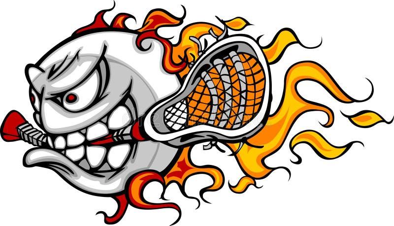 Imagem flamejante do vetor da face da esfera de Lacrosse