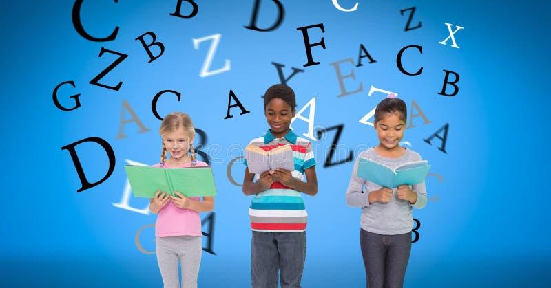 Imagem gerada Digital das crianças que guardam livros com as letras que voam contra o fundo azul ilustração stock