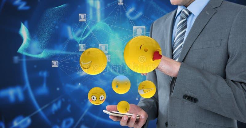 Imagem gerada Digital dos emojis que voam pelo homem de negócios que usa o telefone esperto contra gráficos da tecnologia ilustração do vetor