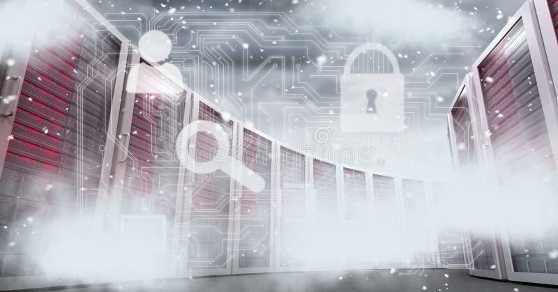 Imagem gerada Digital dos servidores com ícones no céu ilustração stock