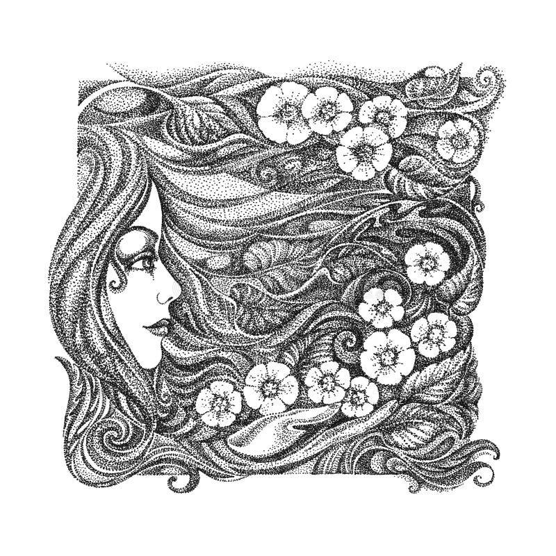 Imagem gráfica abstrata nas meninas do tema, flores, Orn floral ilustração royalty free