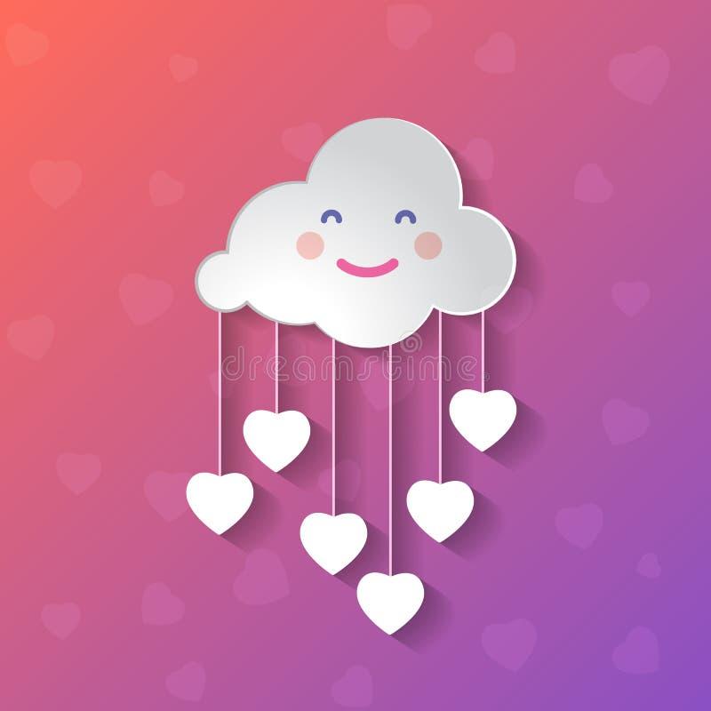 Imagem gráfica de design de arte plana de nuvem feliz com corações sobre fundo pastel cor-de-rosa e gradiente violeta ilustração stock
