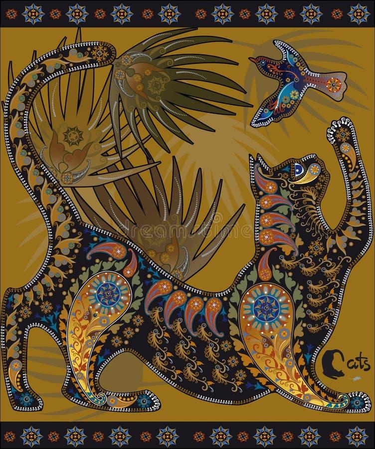 Imagem gráfica decorativa heterogêneo, um gato que joga com um pássaro ilustração stock