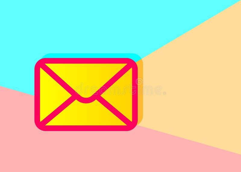 Imagem gráfica do projeto liso da arte do envelope no backg cor-de-rosa e azul ilustração stock