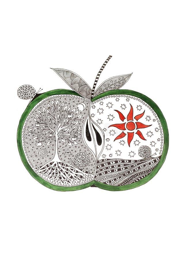 Imagem gráfica Maçã místico Silhueta de uma maçã com o sol e a árvore de vida ilustração do vetor