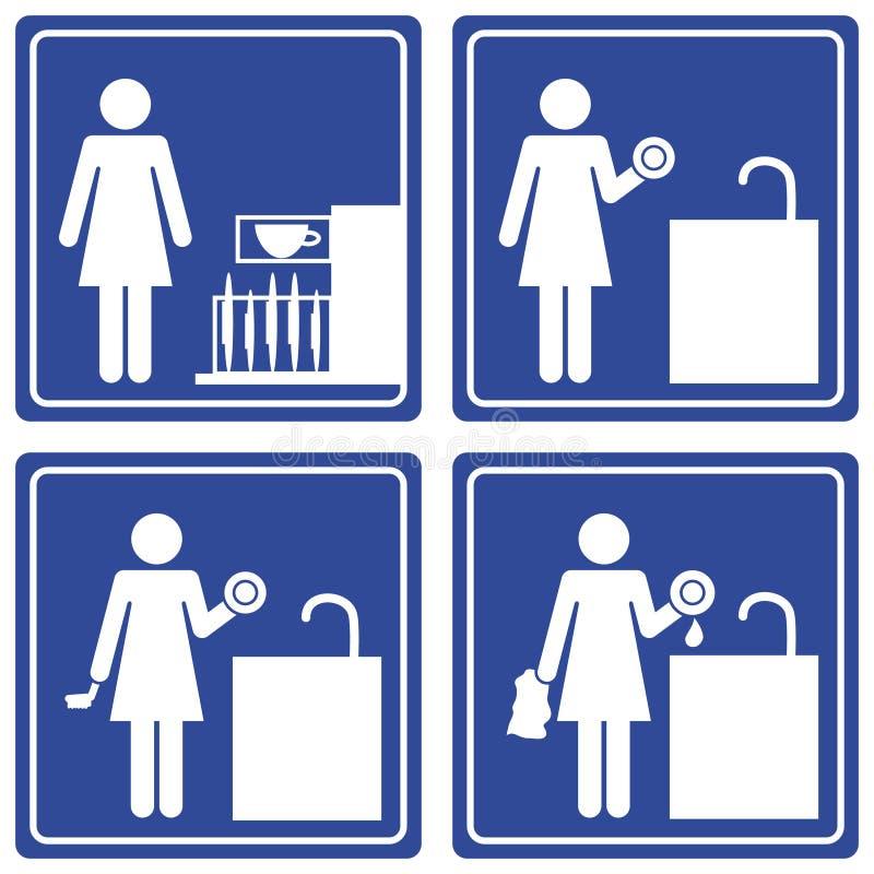 Imagem gráfica - pratos de lavagem ilustração royalty free