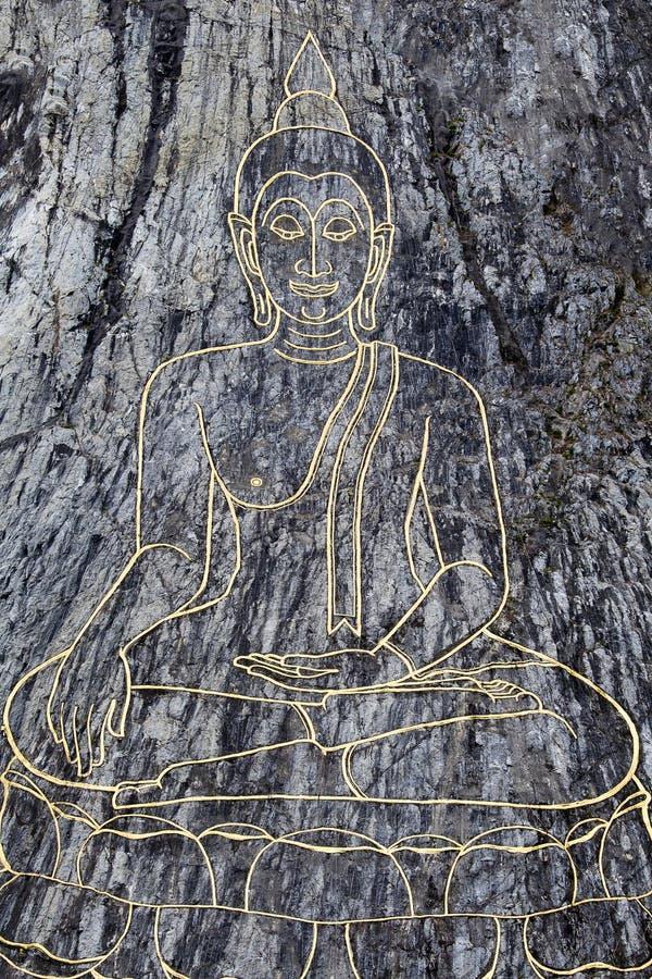 Imagem grande da Buda na montanha Wat Khao Chi Chan, Pattaya, Tailândia imagens de stock royalty free