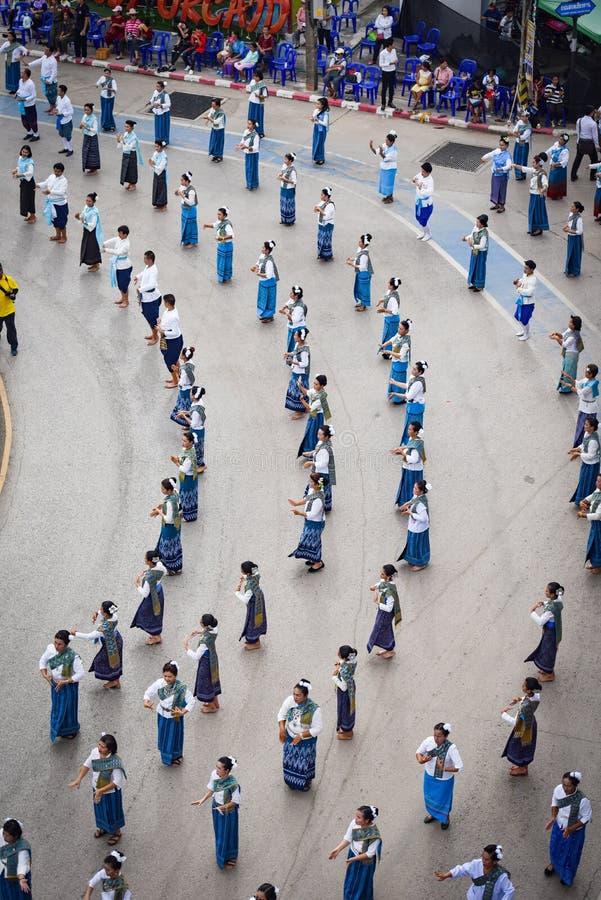 Imagem histórica da vista superior a dança da cerimônia a deusa Tailândia 2018 fotos de stock