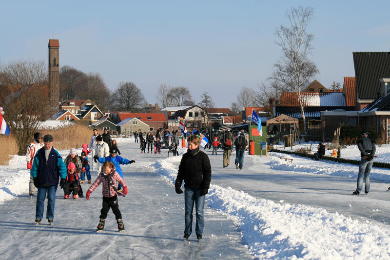 Imagem holandesa típica do inverno foto de stock