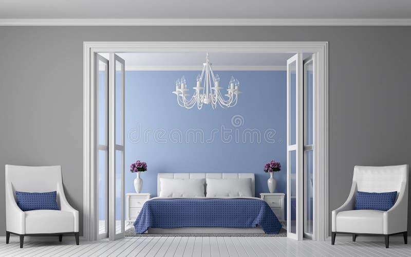 Imagem interior da rendição 3d do quarto moderno do vintage ilustração stock