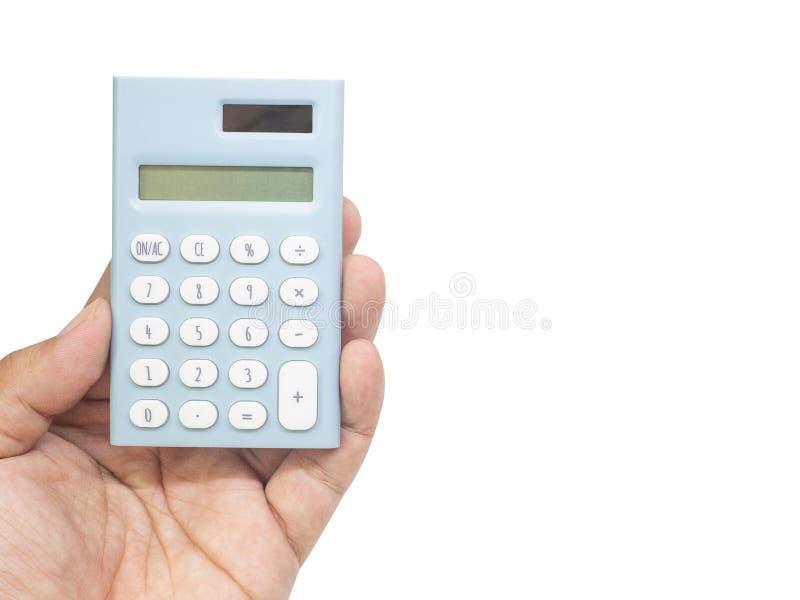 Imagem isolada à terra da parte traseira branca azul da calculadora disponível foto de stock
