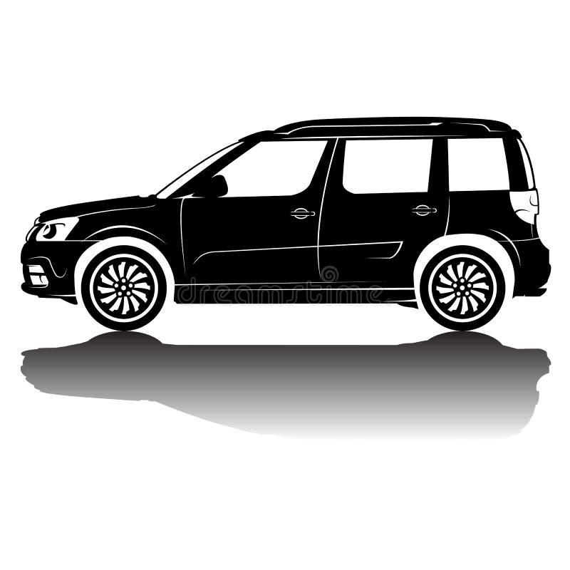 Imagem isolada vetor da silhueta do carro Silhueta preta Carro com reflexão ilustração stock