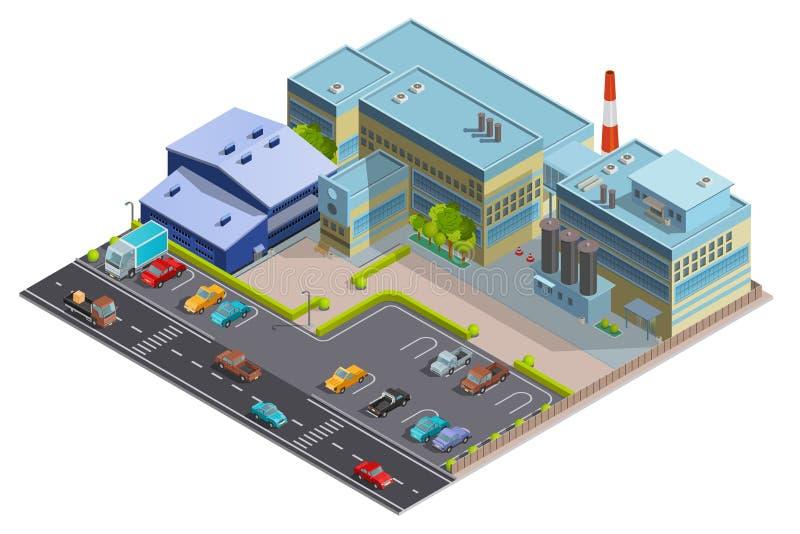 Imagem isométrica da composição da fábrica ilustração royalty free