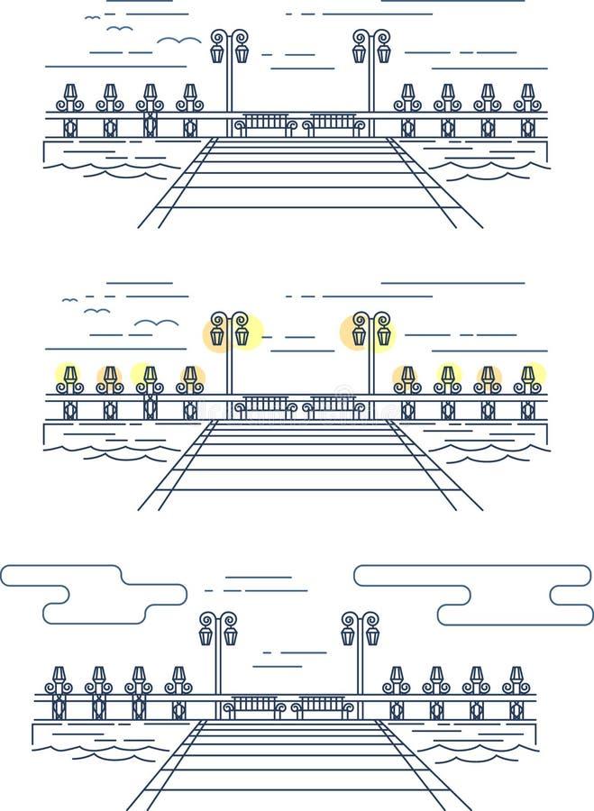 Imagem linear do vetor do cais na água ilustração stock