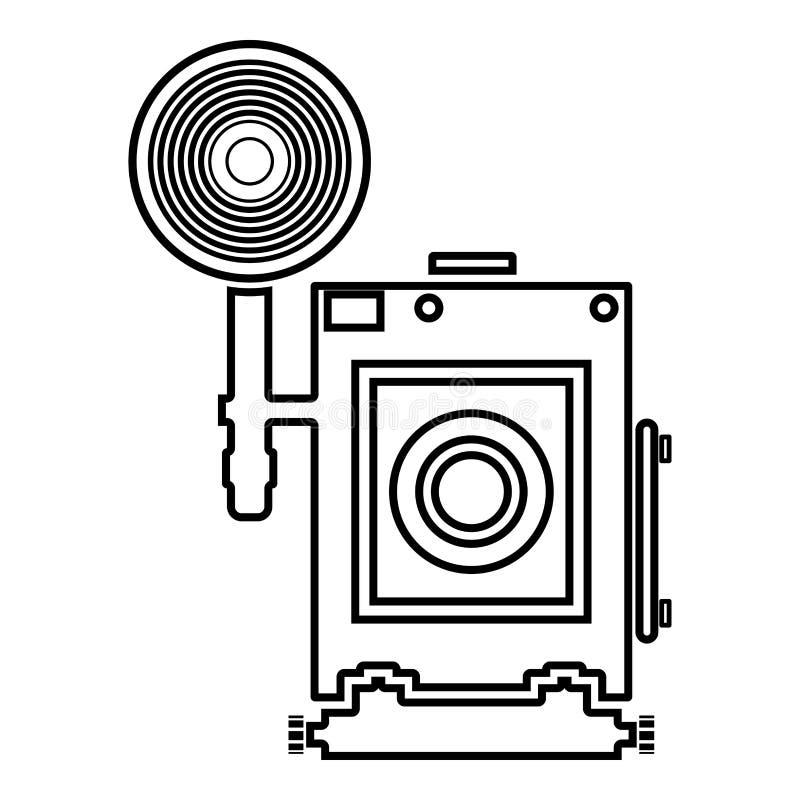 Imagem lisa do estilo da ilustração retro do vetor do esboço da cor do preto do ícone da opinião da cara da câmera da foto do vin ilustração stock