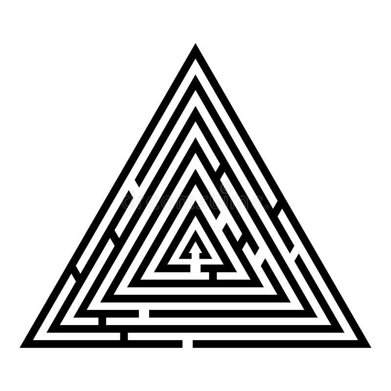 Imagem lisa do estilo da ilustração triangular do vetor da cor do preto do ícone do enigma do labirinto do enigma do labirinto do ilustração stock