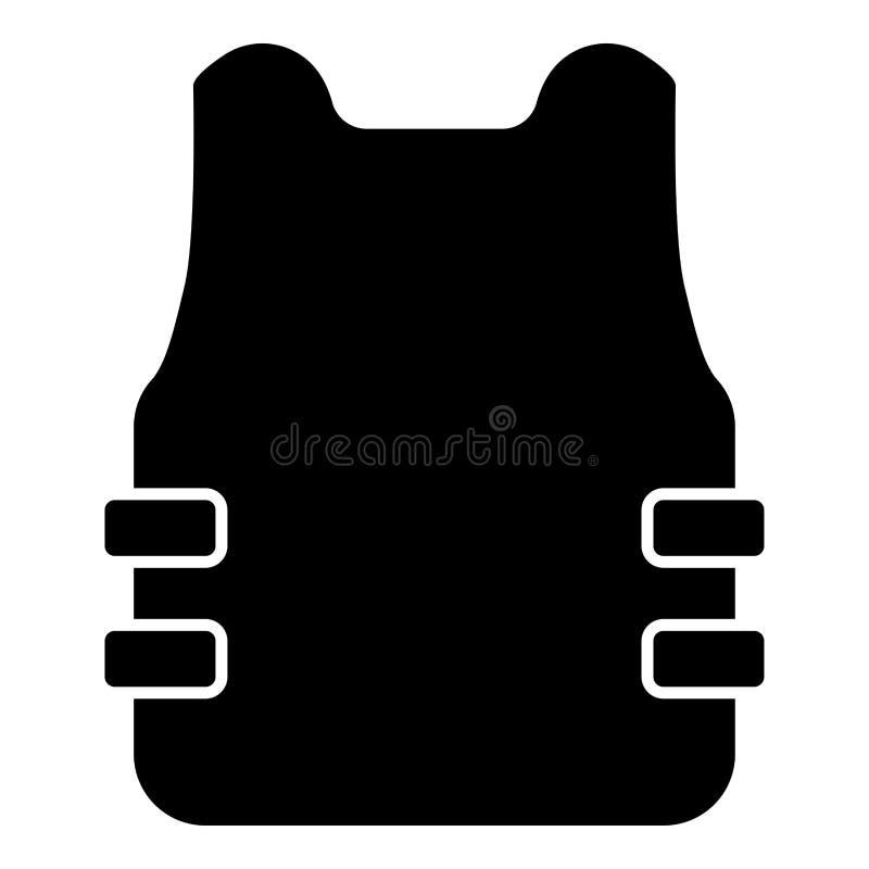 Imagem lisa do estilo da ilustração do vetor da cor do preto do ícone do revestimento de oposição da veste à prova de balas ilustração do vetor