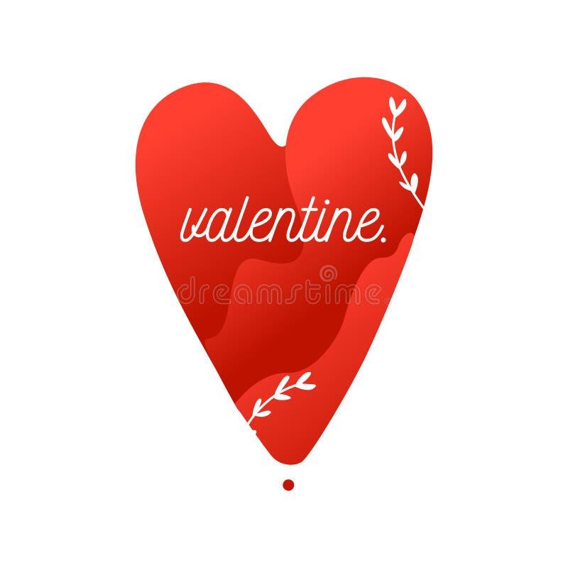 Imagem lisa do Valentim do vetor do coração vermelho com ramos imagens de stock