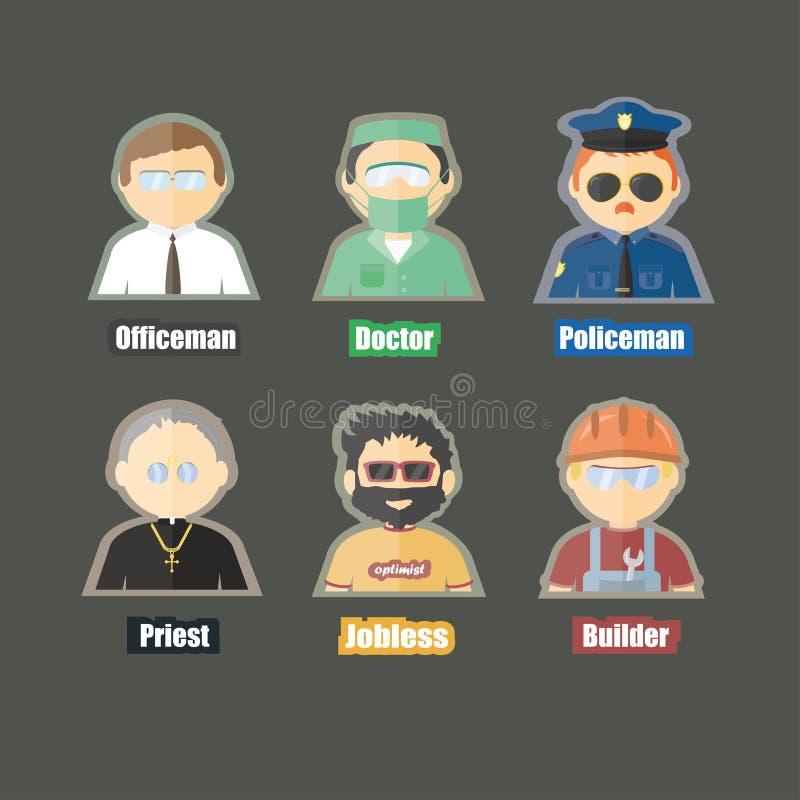 Imagem lisa dos desenhos animados do caráter diferente da profissão ilustração royalty free