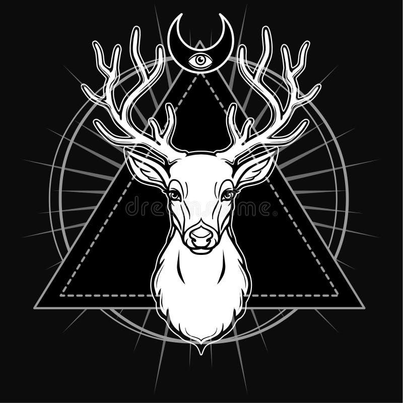 Imagem místico da cabeça de um cervo horned, geometria sagrado, símbolos da lua ilustração stock