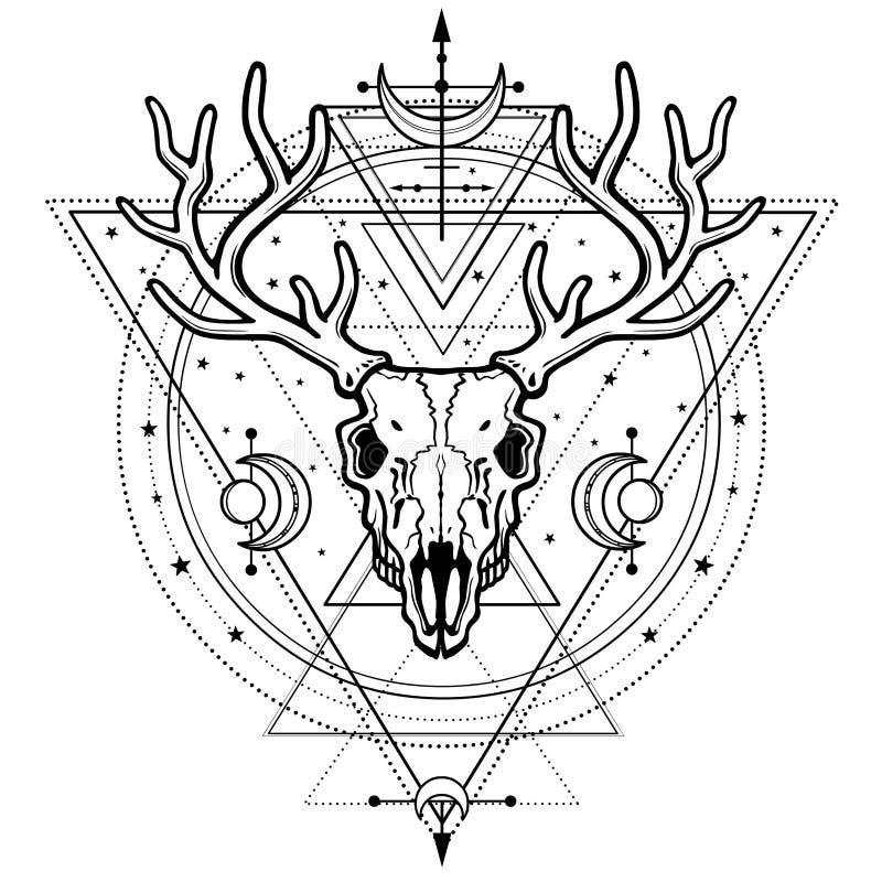 Imagem místico do crânio um cervo horned, geometria sagrado, símbolos da lua ilustração do vetor