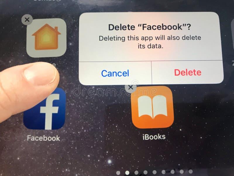 A imagem macro de um dedo aproximadamente para suprimir de Facebook app de uma tela do iPad - pôde ser devido às edições da priva fotos de stock