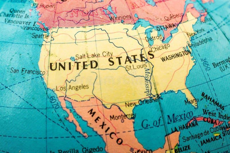Imagem macro de um mapa de América fotos de stock