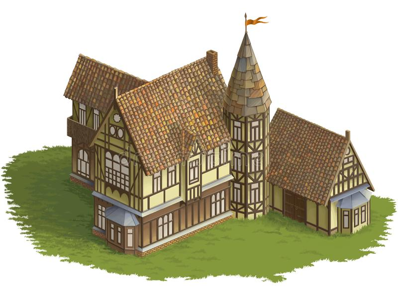 imagem Metade-suportada da cor da construção para o jogo isometry ilustração do vetor
