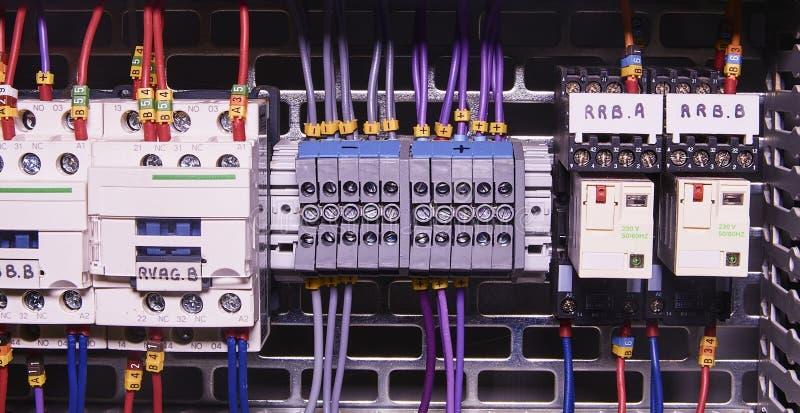 A imagem mostra o compartimento de controle Contatores e interruptores elétricos dentro do caso do poder fotografia de stock royalty free
