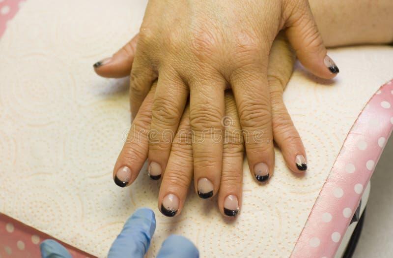 Manicure francês terminado do prego imagens de stock royalty free