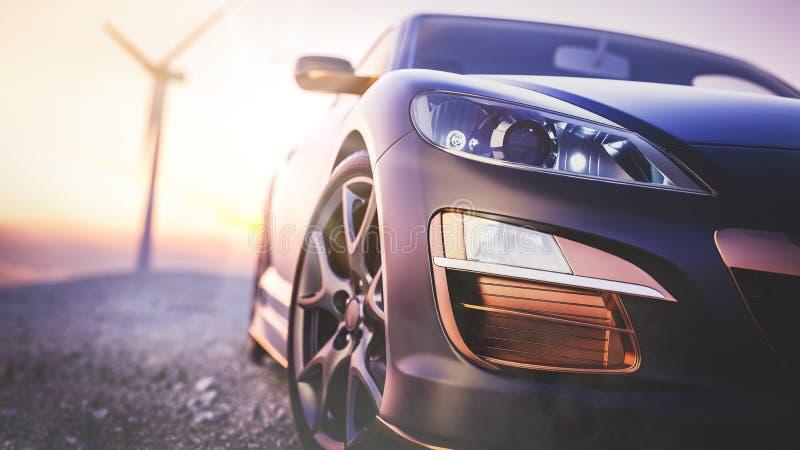 A imagem na frente da cena do carro de esportes atrás como o goi do sol imagem de stock