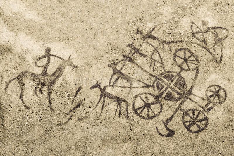 Imagem na parede da caverna ilustração stock