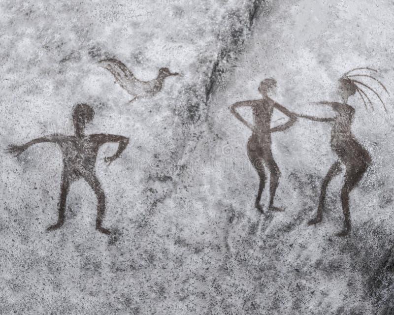 A imagem na parede da caverna pintada por um homem antigo ilustração stock