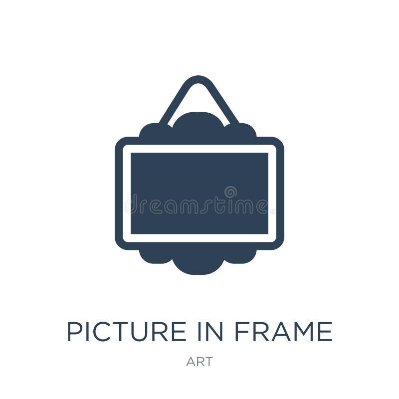 imagem no ícone do quadro no estilo na moda do projeto imagem no ícone do quadro isolado no fundo branco imagem no ícone do vetor ilustração stock
