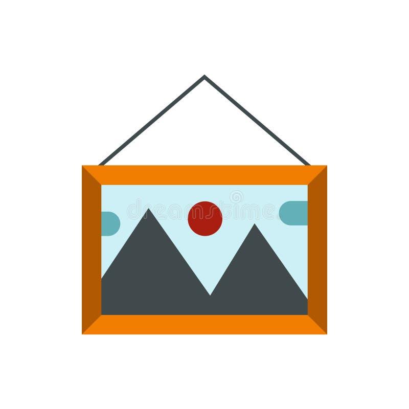 Imagem no quadro de madeira no ícone da parede ilustração stock