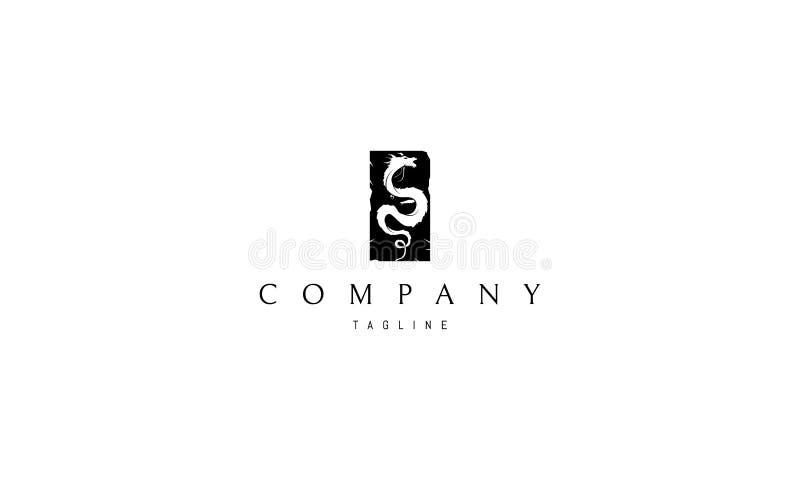 Imagem preta do logotipo do vetor do dragão ilustração royalty free