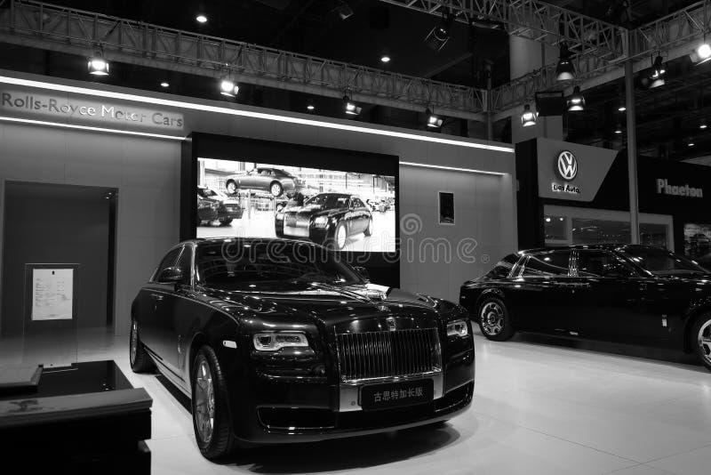 Imagem preto e branco da cabine de Rolls royce foto de stock royalty free