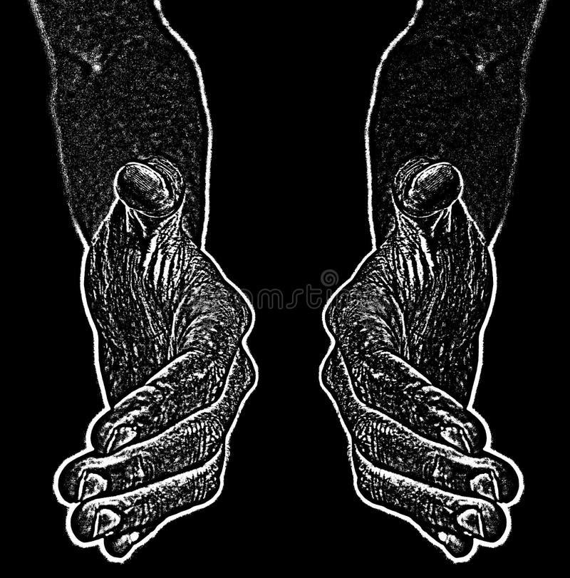 A imagem preto e branco das mãos do preto e quer agitar a mão ilustração royalty free
