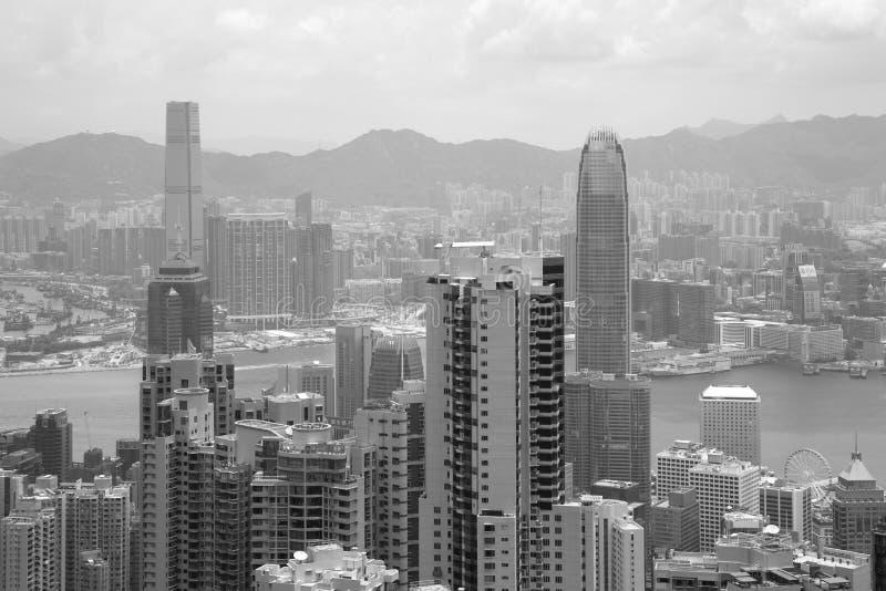 Imagem preto e branco de China da opinião de Hong Kong foto de stock royalty free