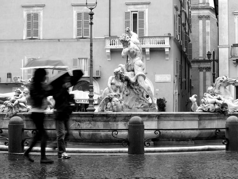 Praça chuvosa Navona fotos de stock royalty free