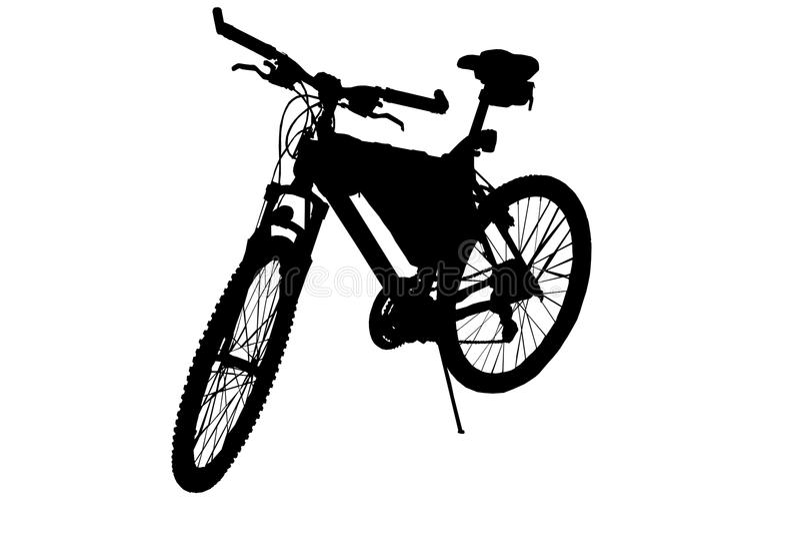 Imagem preto e branco do estêncil de uma bicicleta dos esportes ilustração stock