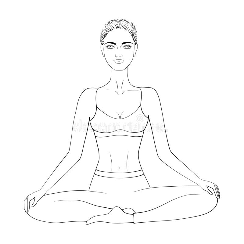 Imagem preto e branco do vetor de uma ioga ou de uma meditação praticando da mulher ilustração royalty free