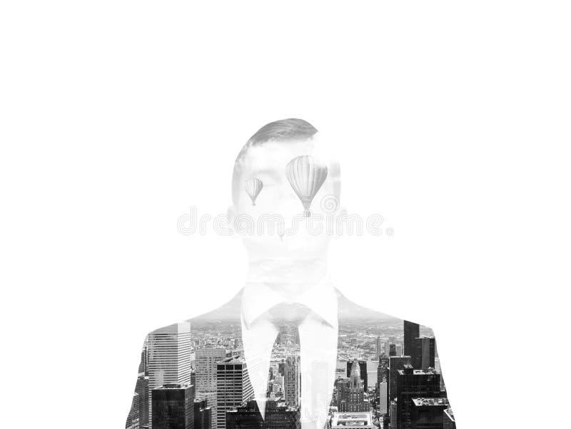 Imagem preto e branco Uma silhueta transparente de um homem de negócios imagens de stock royalty free