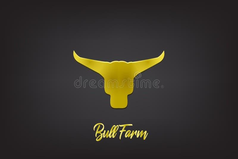 Imagem principal do vetor do touro do ouro do logotipo ilustração stock