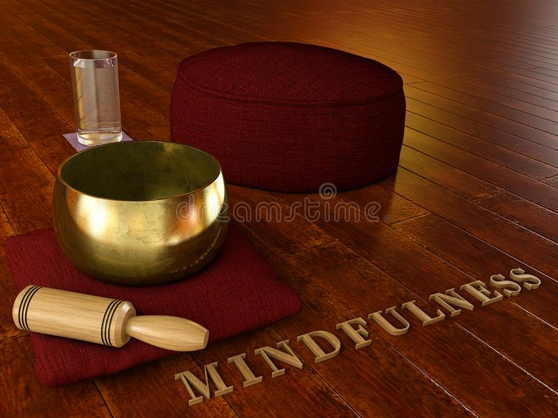 Mindfulness - Meditation environment with wooden floor, Tibetan singing bowl, glass of water, Cushion Zafu Yoga Meditation. And the word mindulness in wood - 3D vector illustration