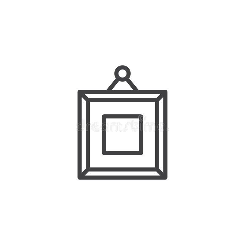 Imagem quadrada do quadro no ícone do esboço da parede ilustração do vetor