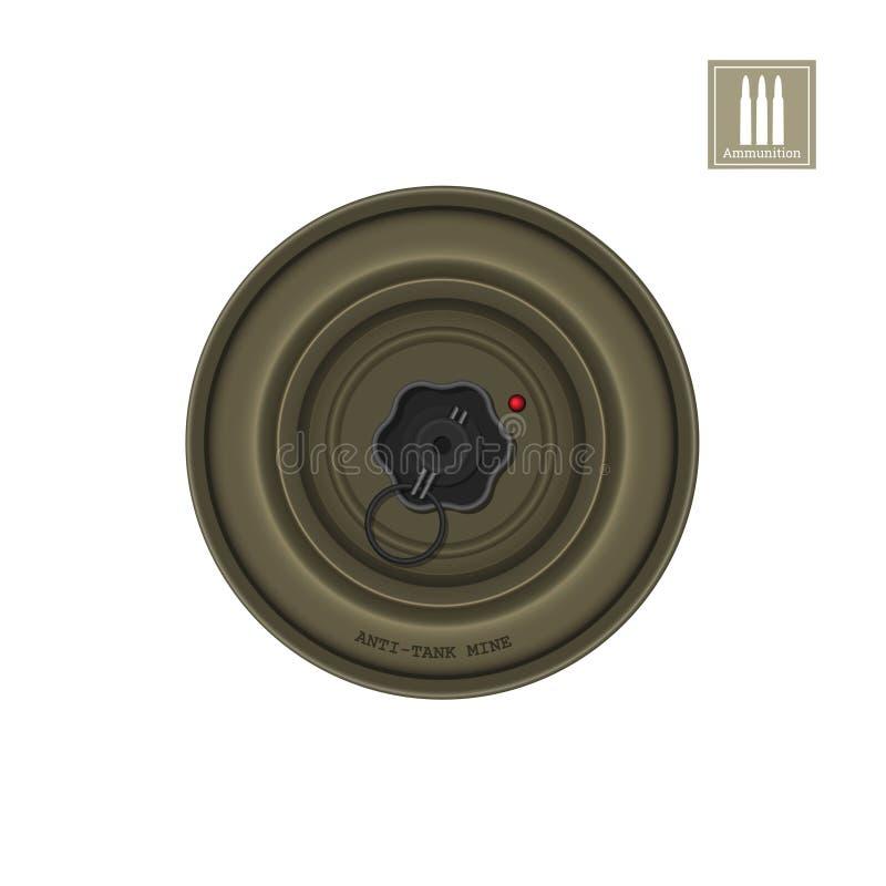 Imagem realística detalhada da mina do anti-tanque Explosivo do exército Ícone da arma Objeto militar ilustração royalty free